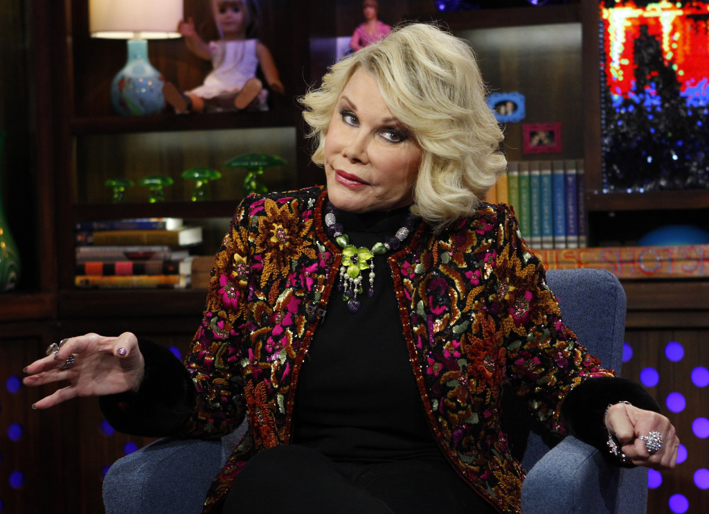 "In 2012 photo Joan Rivers appeared on the ""Watch What Happens Live"" show in New York."