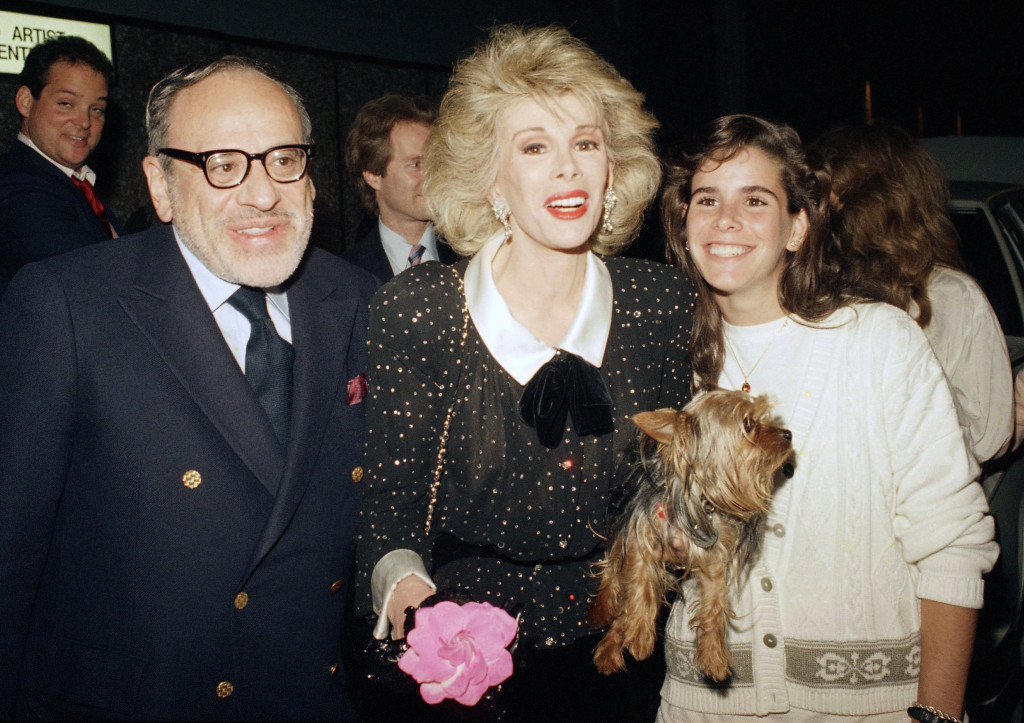 Joan Rivers with her husband Edger Rosenberg and daughter Melissa at Fox Broadcasting Studios in Los Angeles in 1987.
