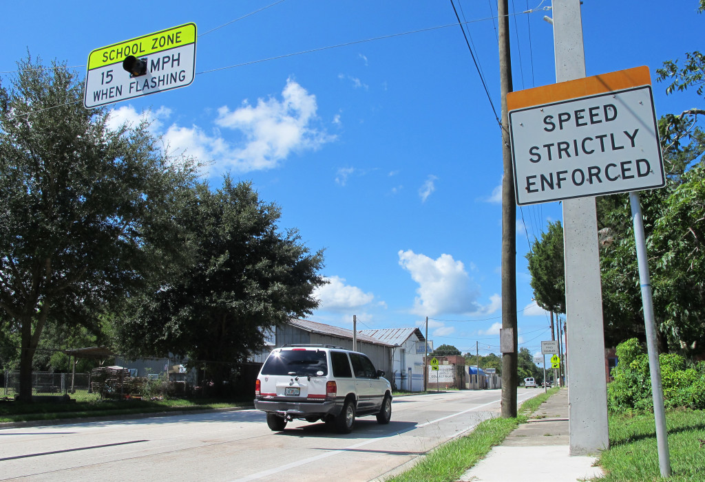 Drivers enter the town of Waldo, Fla., where motorists can encounter many different speed limits in a roughly 2-mile drive. The Associated Press