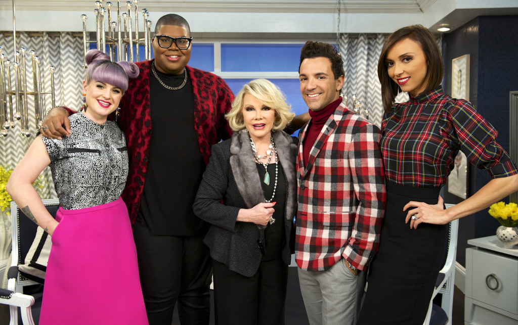 "Kelly Osbourne, EJ Johnson, Joan Rivers, George Kotsiopoulos, and Giuliana Rancic on the set of ""Fashion Police."" Taping for Joan Rivers' E! network show ""Fashion Police"" has been put on hold."