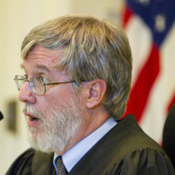 Justice Paul Fritzsche speaks during Friday's hearing in York County Superior Court on a complaint filed by a group pushing for a marijuana legalization referendum in York this November. Fritzsche denied the injunction sought by the marijuana advocates.