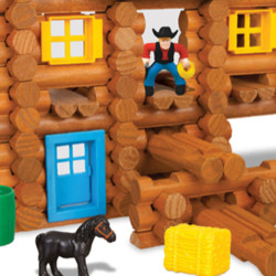 This Lincoln Log kit, called Redfield Ranch, is priced at $39.99. It is one of 15 different kits displayed on the K'Nex website.