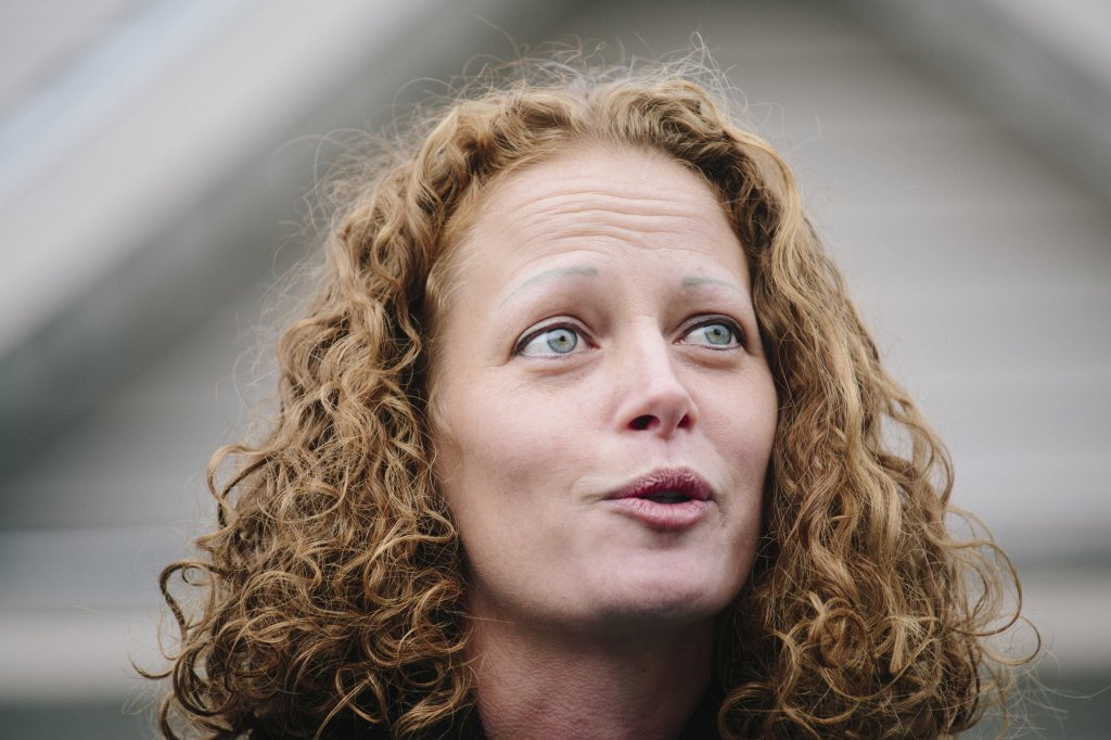 "Kaci Hickox speaks to the media in Fort Kent on Friday. ""We are humbled today by the judge's decision,"