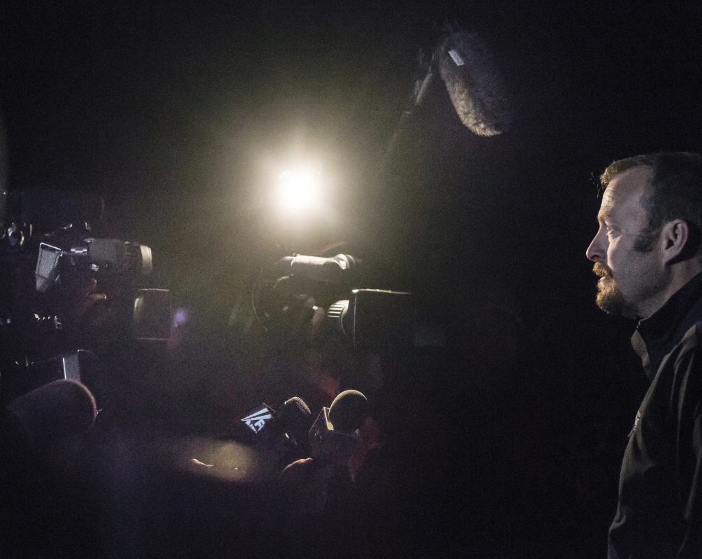 Ted Wilbur addresses members of the media in the driveway of his home in Fort Kent late Thursday. Wilbur declined to discuss legal matters between his girlfriend, Kaci Hickox, and the state of Maine but said the couple aren't trying to make anyone in the town uncomfortable, and are only trying to catch up with their routines, now that Hickox is back home from West Africa.