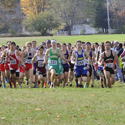 Start of the Class A boys race during the Western Maine cross country regionals at Twin Brook Recreational Area in Cumberland. John Patriquin/Staff Photographer