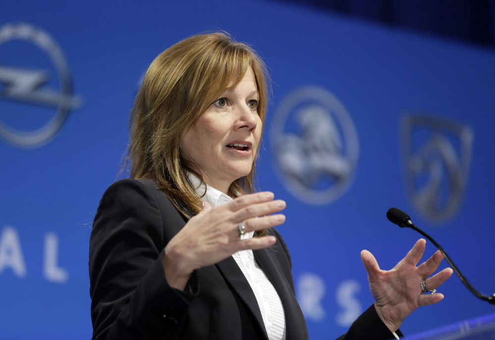 Mary Barra, CEO at GM, addresses the Global Business Conference for investors in Milford, Mich., on Wednesday.
