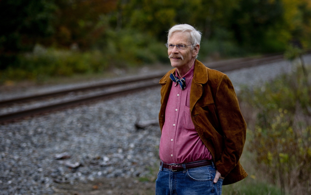"""Chalmers Hardenbergh near a railroad in Freeport Wednesday. He said the Pan Am Systems suit against him and his newsletter took """"a significant amount of my time, but I've enjoyed it because I felt the law was on my side."""""""