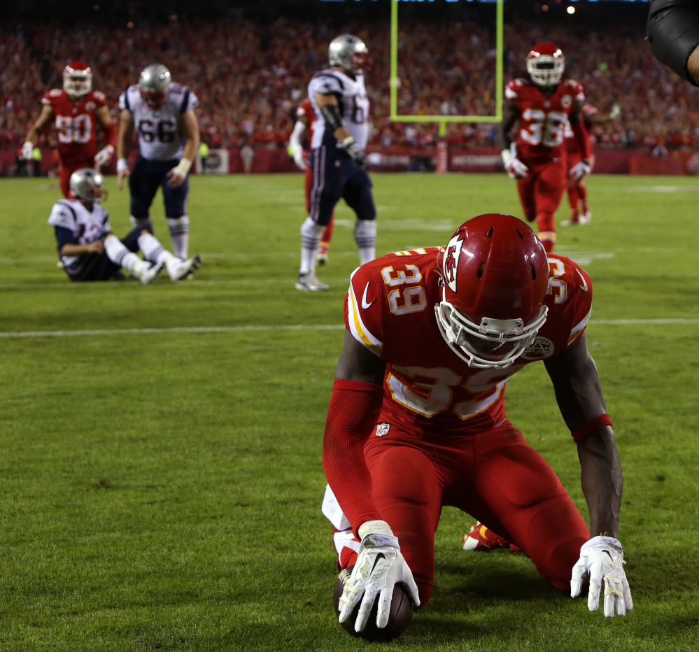 Kansas City Chiefs safety Husain Abdullah was penalized for bowing after intercepting a pass and scoring a touchdown Monday night against the New England Patriots. The NFL said Tuesday that Abdullah should not have been penalized for unsportsmanlike conduct on the play.