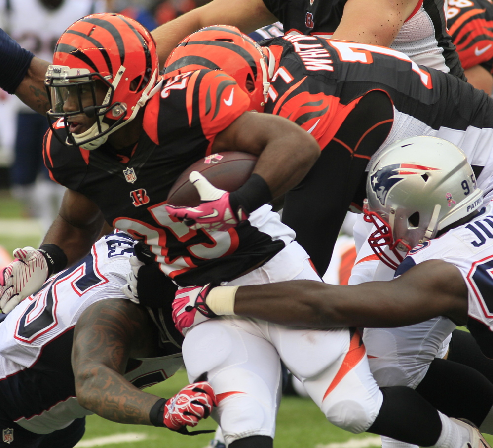 The Bengals and running back Giovani Bernard beat the Patriots 13-6 last October, ending Tom Brady's stretch of throwing a touchdown pass in 52 straight games.