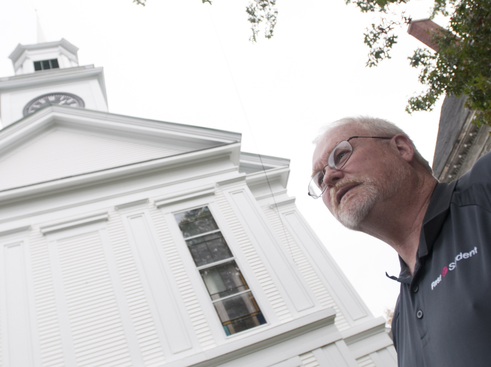 """n PASTOR PETER REMICK, standing outside the Franklin Street United Methodist Church in Bucksport, says, """"When you see a change like this, it's the death of the community in a lot of ways."""""""