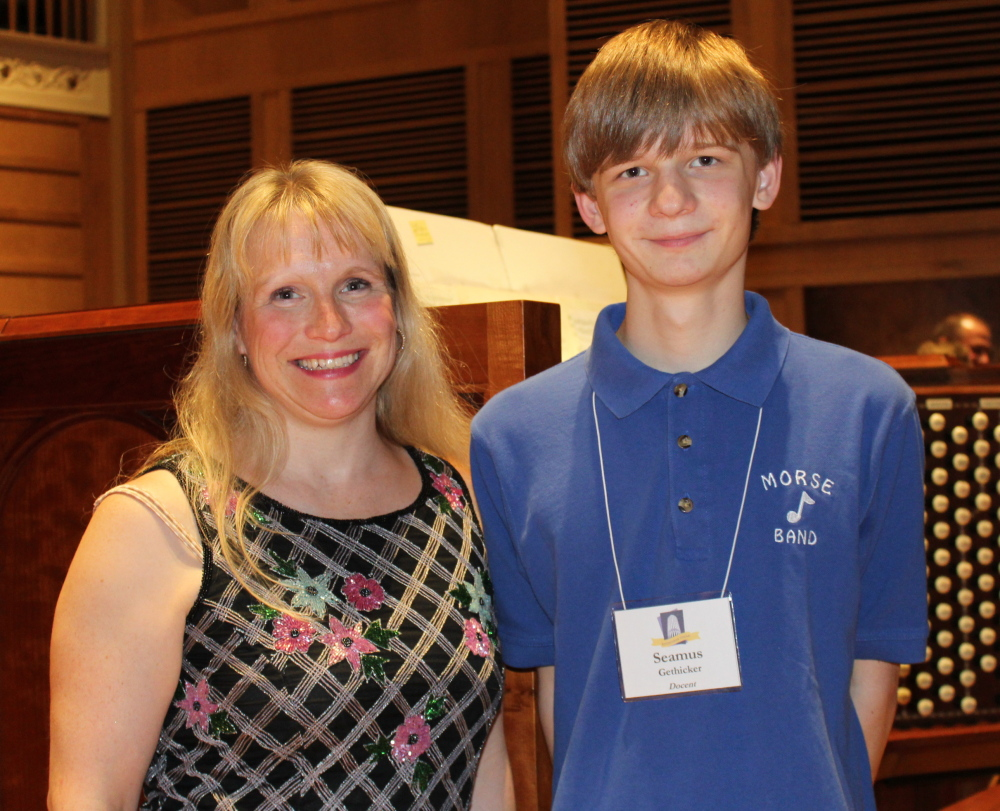 Kym Granger of Bath and her son Seamus Gethicker, a 15-year-old organist and Kotzschmar Organ docent.