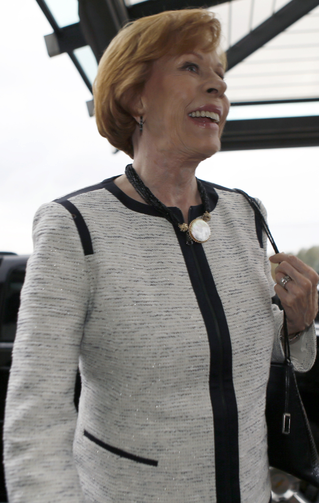 Carol Burnett arrives at a banquet Friday to receive the 2014 Harvey Award presented by the James M. Stewart Museum Foundation.