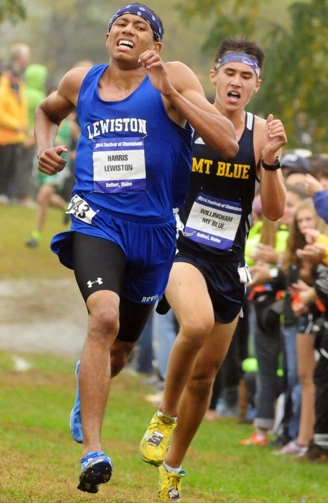 Lewiston's Isaiah Harris was the fifth overall finisher in the boys race at the Festival of Champions in Belfast.