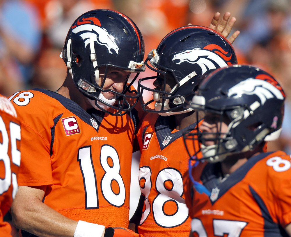 Denver Broncos quarterback Peyton Manning (18) celebrates his touchdown pass to teammate Demaryius Thomas (88) during the first half of an NFL football game against the Arizona Cardinals, Sunday in Denver.