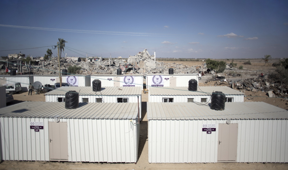 Mobile homes in Khuzaa, southern Gaza Strip, were donated by a charity for temporary housing for Palestinians whose houses were destroyed in the recent Israel-Hamas war.