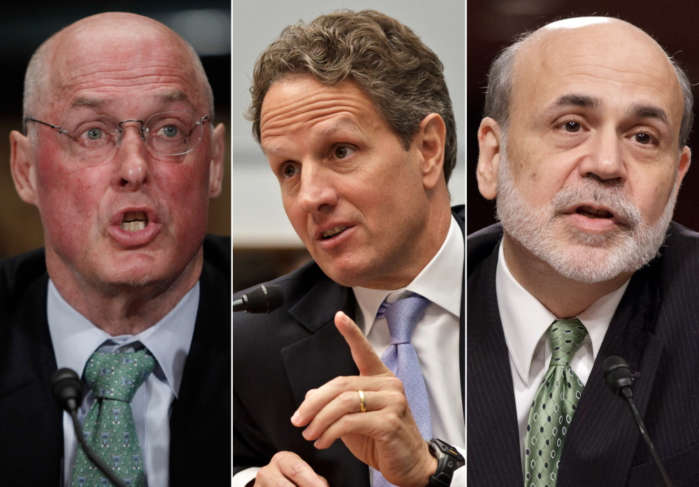 Former Treasury Secretary Henry Paulson, from left, former Treasury Secretary Timothy Geithner and former Federal Reserve Chairman Ben Bernanke will testify this week in a lawsuit over the government's rescue of insurance giant AIG.