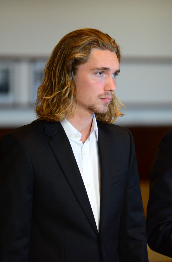 Jesse Helt, who was befriended by Miley Cyrus, stands during his sentencing hearing on Tuesday.