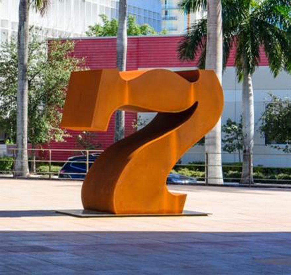 """Robert Indiana's """"Seven,"""" which was on view in Miami through the summer, will be unveiled in front of the Portland Museum of Art during the Nov. 7 First Friday Art Walk."""