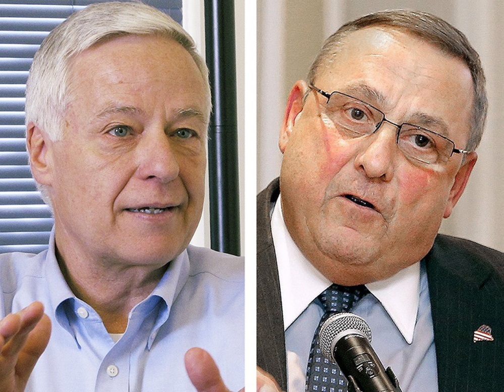 U.S. Rep. Mike Michaud, left, and Gov. Paul LePage