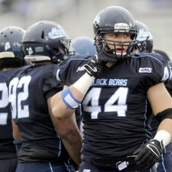 Maine defensive end Patrick Ricard  was on the field for 68 of the 75 snaps against Rhode Island, registering a team-high nine tackles and 1.5 sacks.
