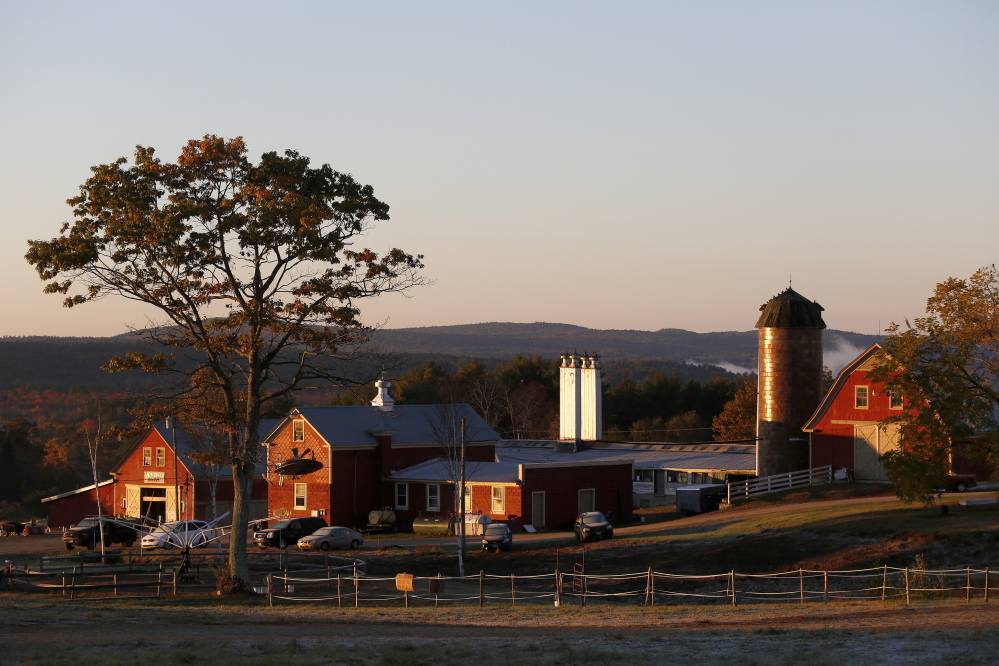 The sun breaks over Harvest Hill Farms in Mechanic Falls on Route 126 Sunday, the morning after a hayride accident killed a 17-year-old girl and injured 22 others.