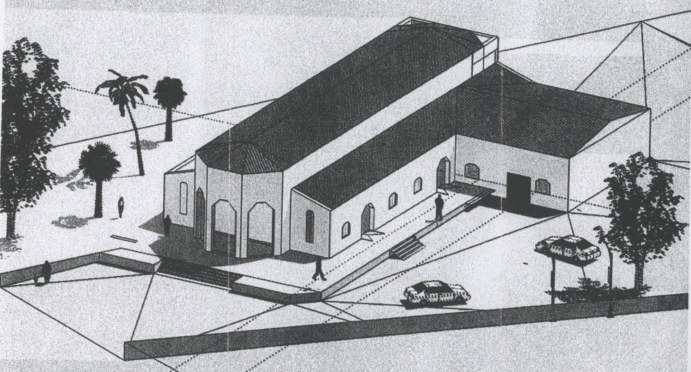 A drawing shows a proposed Haitian church that would serve a farming community.