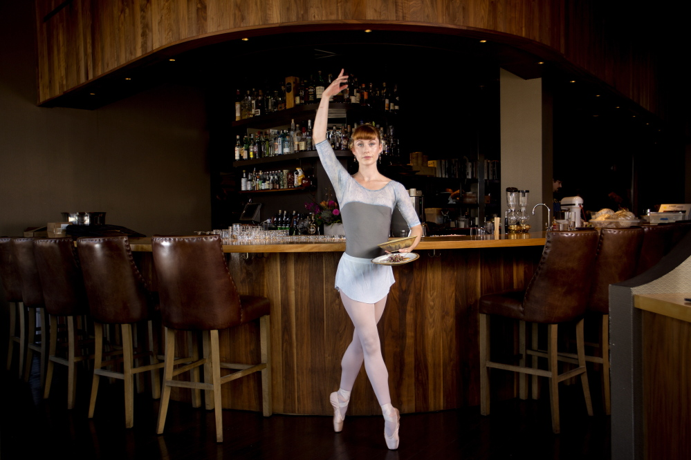 """Eliana Trenam, a server at Hugo's, is on stage this weekend and next in """"Jack the Ripper"""" at the Portland Ballet Theater on Forest Avenue."""