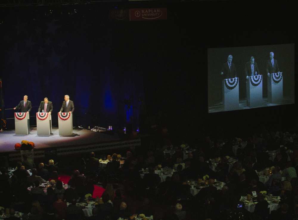In their first televised debate Wednesday, Republican incumbent Paul LePage, Democrat Mike Michaud and independent Eliot Cutler each stretched the facts on occasion. The debate was the third of five for the three gubernatorial candidates.