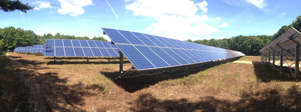 Part of Bowdoin College's new 1.2 megawatt solar power system, located in a field at the former Brunswick Naval Air Station.