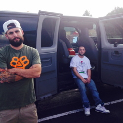 Maine rapper Ryan Peters, known as Spose, left, and tour manager Chadd Wilner were in Denver on Tuesday after the theft of equipment from their van at lunchtime Monday.