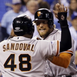 The Giants got off to a great start Tuesday night, scoring three times in the first inning to open the World Series against