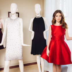 Anna Kendrick's red, sleeveless party dress is from Kate Spade New York's holiday collection is featured in the company's upcoming advertising campaign starring Kendrick.