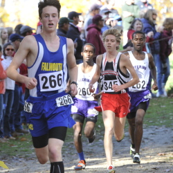 Bryce Murdick of Falmouth leads Scarborough's Jacob Terry (345) and Deering's Yahye Hussein (260) and Iid Sheikh-Yusuf (262) during the Class A boys' race Saturday at the Western Maine cross country regionals in Cumberland. Sheikh-Yusuf won the race, followed by Terry, Murdick and Hussein.
