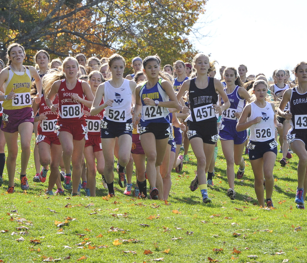 Runners jockey for position at the start of the Class A girls' race during the Western Maine cross country regionals Saturday at Twin Brook Recreational Area in Cumberland. Massabesic (Class A), Yarmouth (Class B) and Waynflete (Class C) won team titles.
