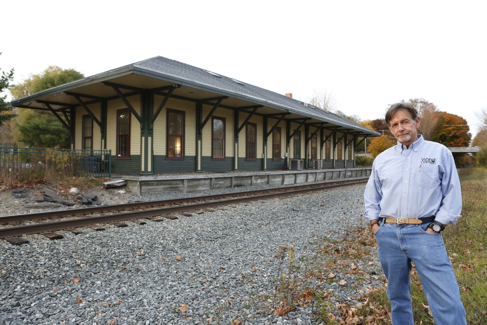 "Part of the old Boston & Maine Railroad station on Depot Street will serve as the Downeaster train stop in Kennebunk. ""We are hoping ... to impress on people that Kennebunk is more than just a bump in the road,"" said town official Blake Baldwin."