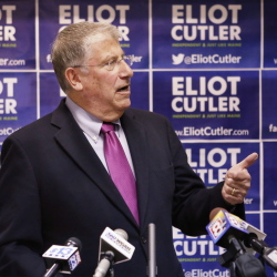 "Independent Eliot Cutler, at his headquarters Tuesday in Portland: ""I am not standing down ... and neither should those voters whose consciences compel them to ... vote for me."""