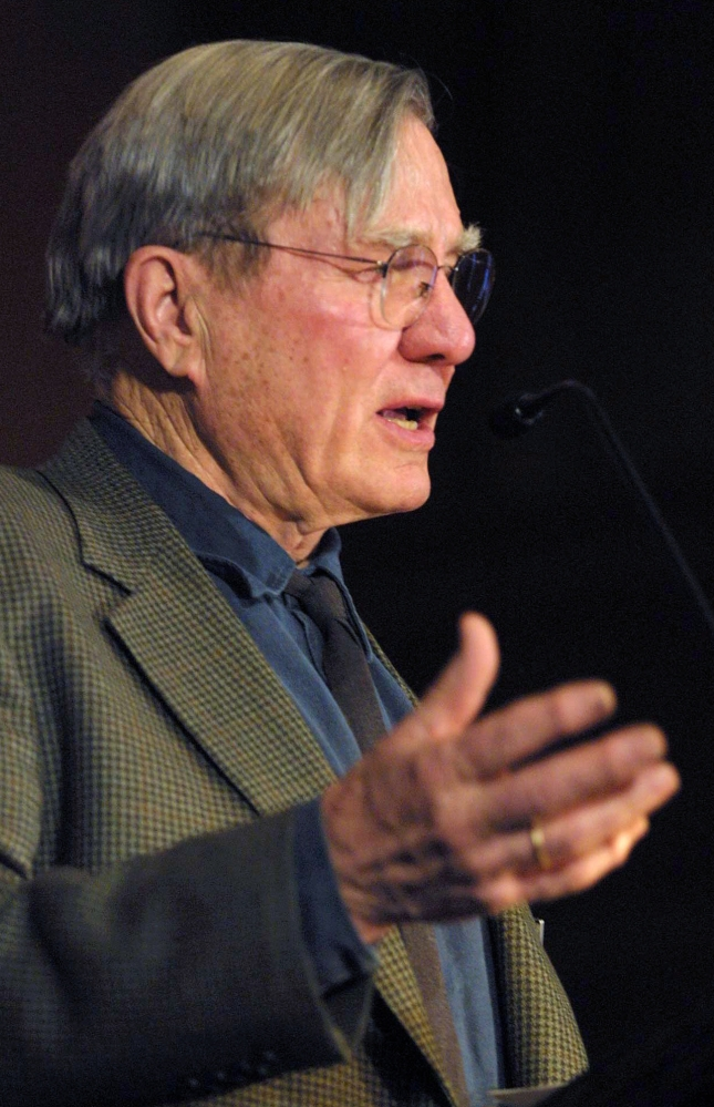 Pulitzer Prize-winning poet Galway Kinnell does a reading in 2003 at a church in Manchester, Vt. Some of his writings feature the landscapes and people of New England.