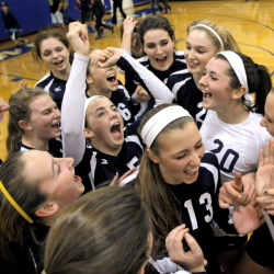 Yarmouth celebrates its 3-0 volleyball victory over Woodland in the Class B semifinals Wednesday at Yarmouth. The Clippers advanced to Saturday's state title match in Ellsworth by winning 25-13, 25-9, 25-20.