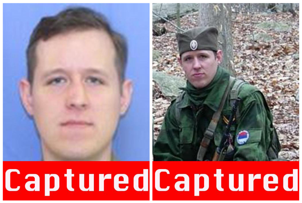This combination of images provided by the FBI after the capture of Eric Matthew Frein on Thursday shows Frein, 31, of Canadensis, Pa. Frein is charged with killing one Pennsylvania state trooper and seriously wounding another.