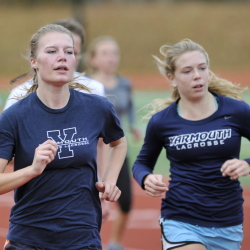 Caitlin Teare, left, and Sarah Myers, both seniors, will be aided by three strong underclassmen Saturday as the Clippers attempt to break through a talented field and win the Class B cross country championship.