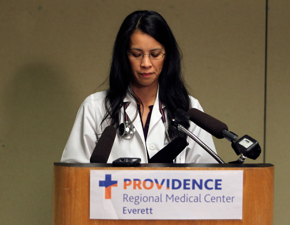 Dr. Anita Tsen announces Friday that Shaylee Chuckulnaskit died at Providence Regional Medical Center in Everett, Wash., from injuries she sustained in the shooting at Marysville-Pilchuck High School on Oct. 24.