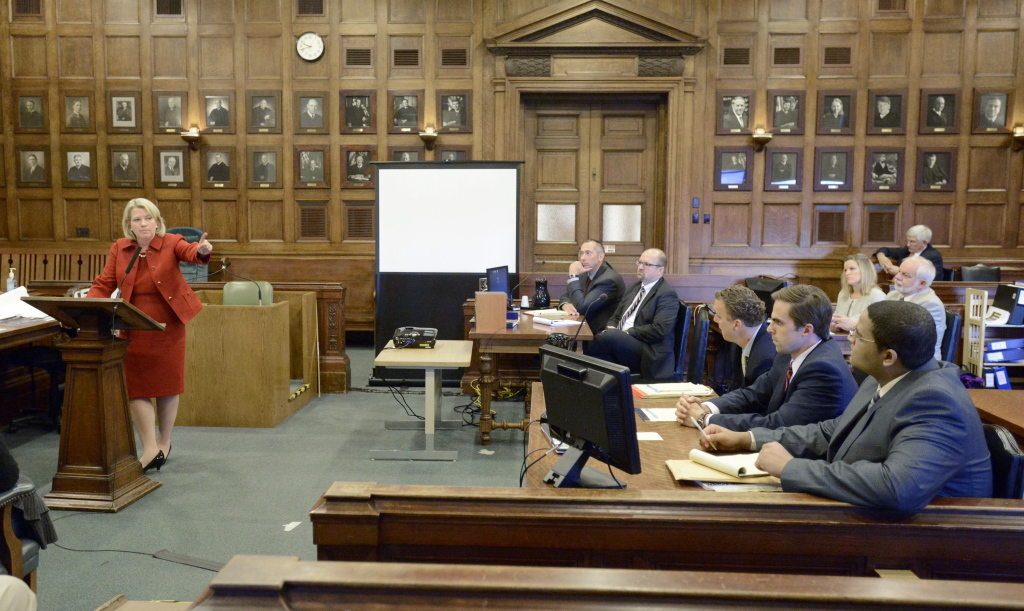 Deputy Attorney General Lisa Marchese points to Anthony Pratt Jr. (far right) during closing arguments in Pratt's murder trial at the Cumberland County Courthouse.
