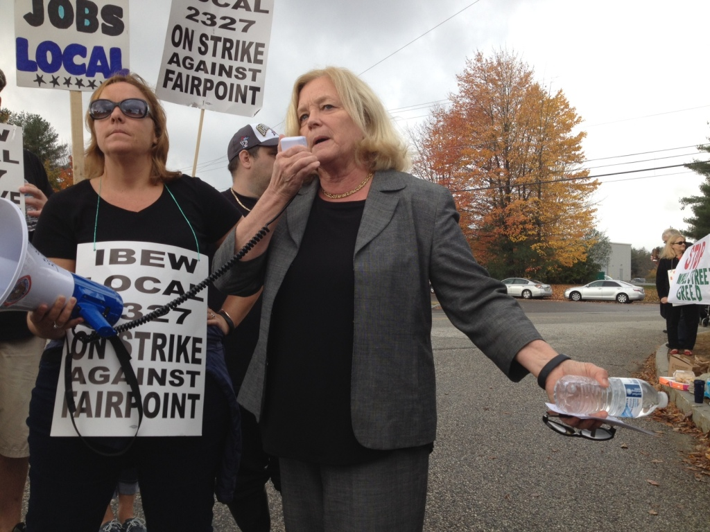 """U.S. Rep. Chellie Pingree addresses FairPoint workers on the picket line in Portland on Oct. 17. In a letter sent Friday to FairPoint's, CEO, Pingree said, """"The company's insufficient response to these contract negotiations causes me to question whether taxpayer dollars are being wisely spent on government contracts with FairPoint."""""""