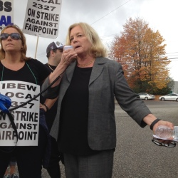 "U.S. Rep. Chellie Pingree addresses FairPoint workers on the picket line in Portland on Oct. 17. In a letter sent Friday to FairPoint's, CEO, Pingree said, ""The company's insufficient response to these contract negotiations causes me to question whether taxpayer dollars are being wisely spent on government contracts with FairPoint."""