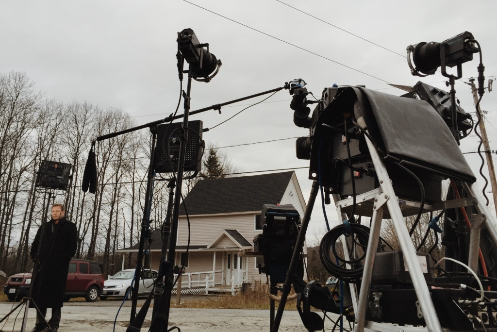 CBS news correspondent Don Dahler records a report Friday morning outside the home of Ted Wilbur, where Kaci Hickox is staying in Fort Kent.