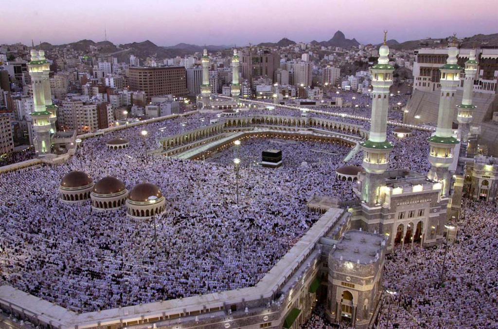 Thousands of Muslims gather around the Kabaa during evening prayer in the holy city of Mecca in this 2002 photo, the Associated Press