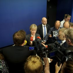 Sweden's Foreign Minister Margot Wallstrom talks to the media in Stockholm, after Sweden's new government officially recognized a Palestinian state.