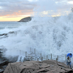 A wave crashes into Thunder Hole at Acadia National Park. 2014 Morning Sentinel file photo/Michael G. Seamans