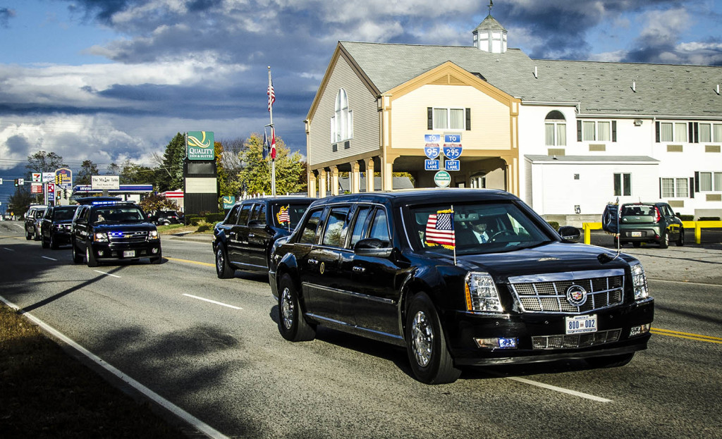 President Barack Obama's motorcade makes its way down Route 1 in South Portland on Thursday, when he came to town to campaign for U.S. Rep. Mike Michaud, who is running for governor.
