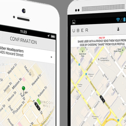 Uber uses your smartphone's GPS to detect a customer's location and connect the customer with th